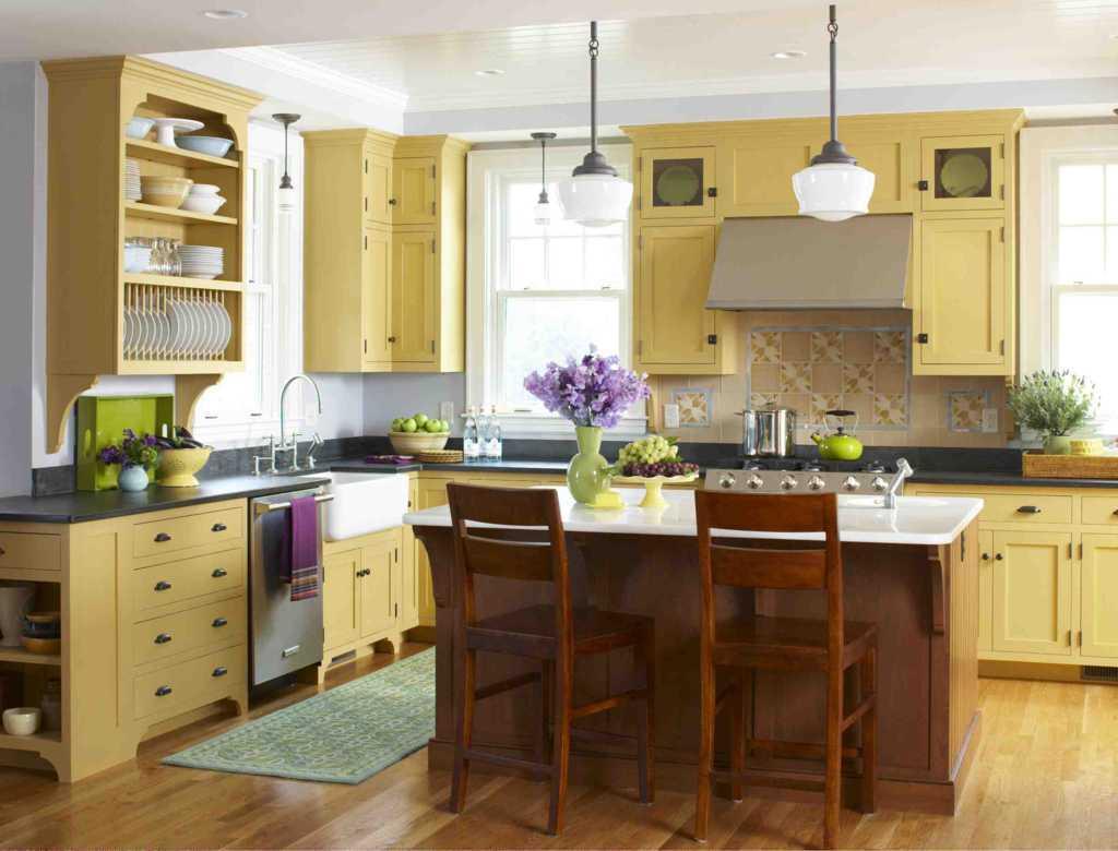 cat dinding interior dapur idaman warna cerah desain