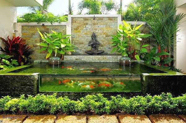 Dekorasi Taman Kolam Ikan Hias Unik