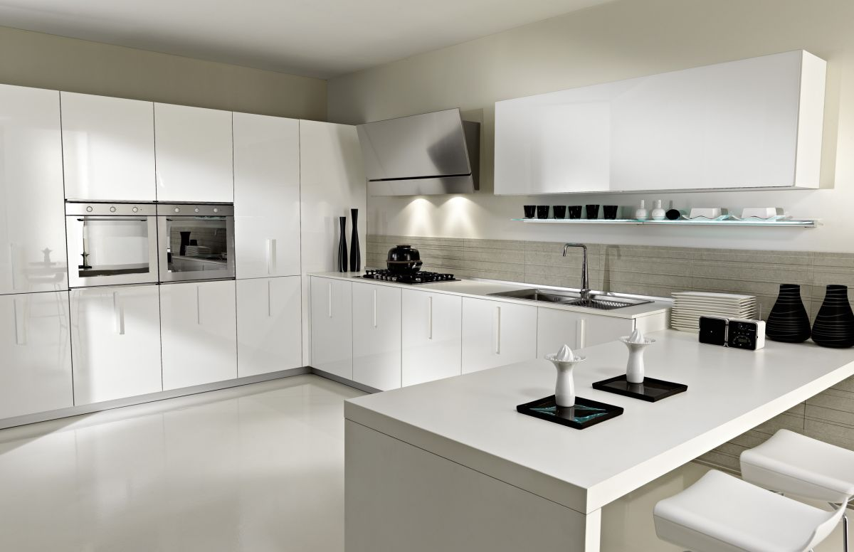 Desain Kitchen Set Lemari Dapur Warna Putih