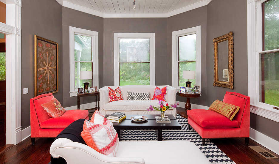 Desain Warna Ruang Tamu Grey Abu Putih
