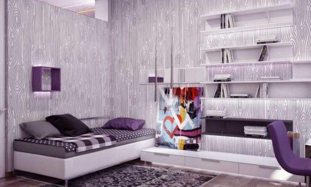 Kamar Tidur Minimalis dengan Wallpaper Unik