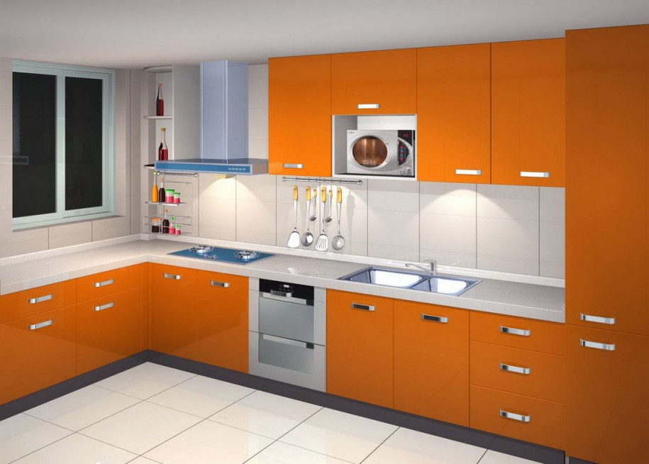Lemari Kabinet Kitchen Set Orange Terbaru