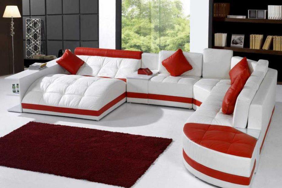 Model U Kursi Sofa Warna Merah Unik Terbaru 2016
