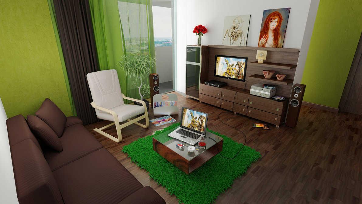 Paduan Warna Hijau Dan Putih Ruang Tamu Kecil