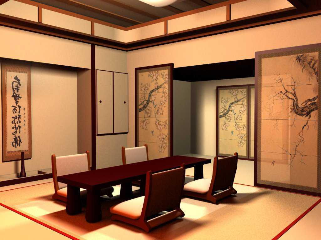 interior ruang tamu rumah jepang klasik