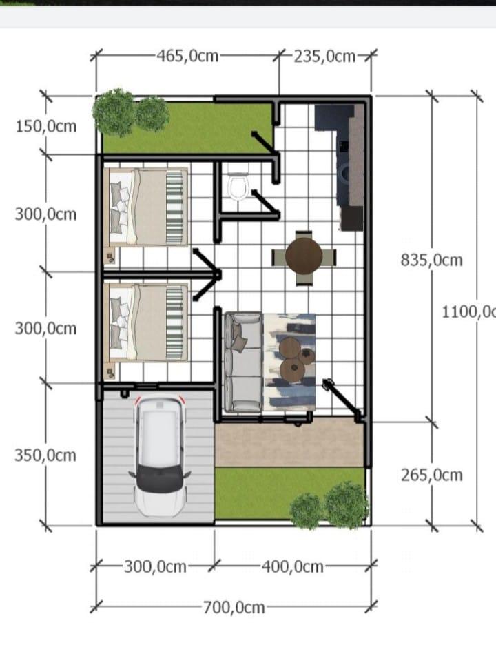 contoh rumah ukuran 77 panjang 11 meter lebar 7 meter 2 kamar tidur