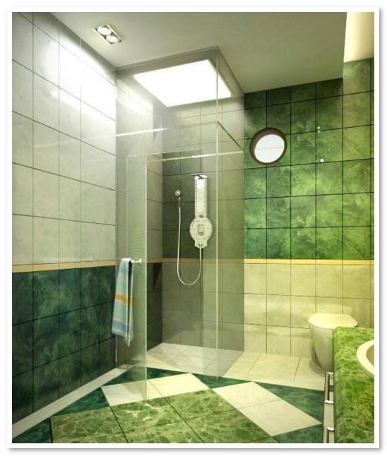 kamar mandi minimalis warna hijau dengan shower