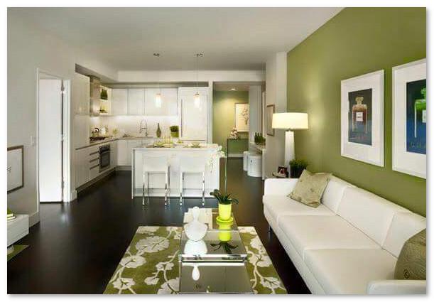 desain ruang tamu warna hijau