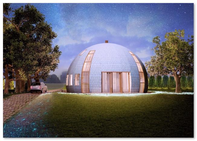 ilustrasi desain rumah kubah