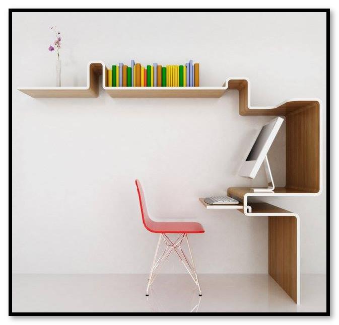 Rak buku dinding yang menyatu dengan meja komputer