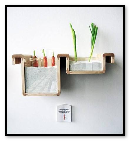 hiasan dinding berupa pot tanaman kecil