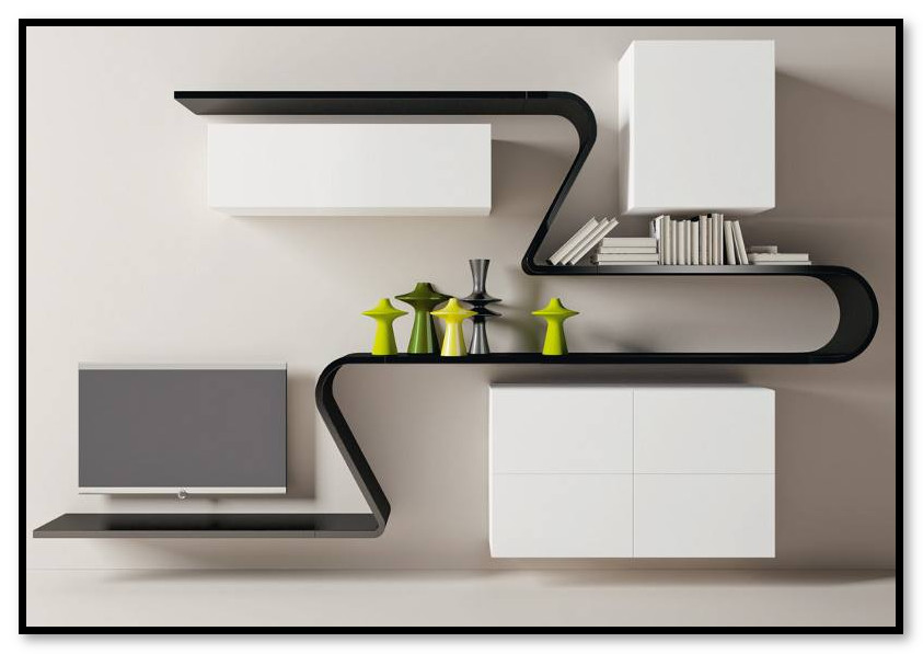 rak dinding yang menyatu dengan meja tivi