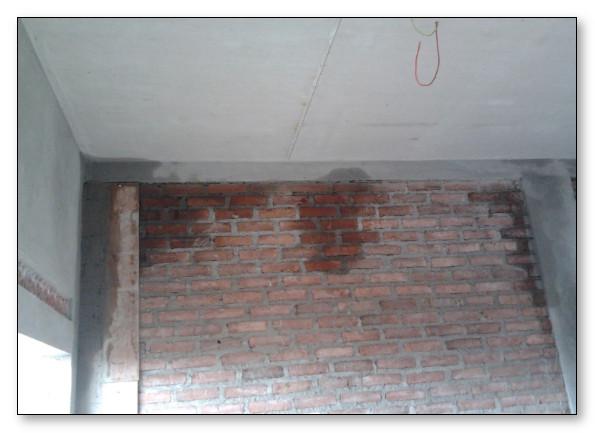 tembok belum diplester jadi bocor