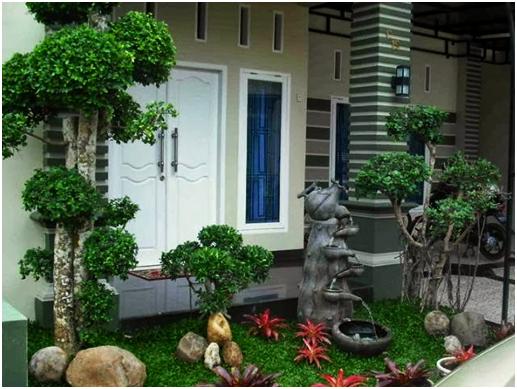 adanya bonsai yang memberi efek minimalis dan bermanfaat