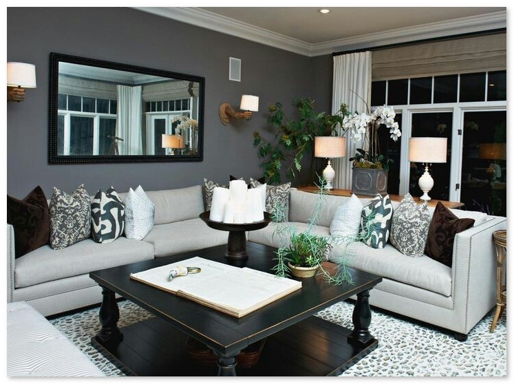 desain ruang keluarga nuansa gelap