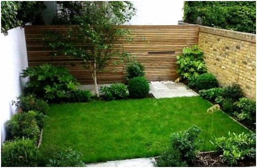desain taman dengan rumput yang indah menawan