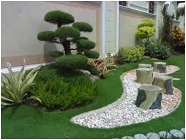 taman kebun di halaman depan rumah teras