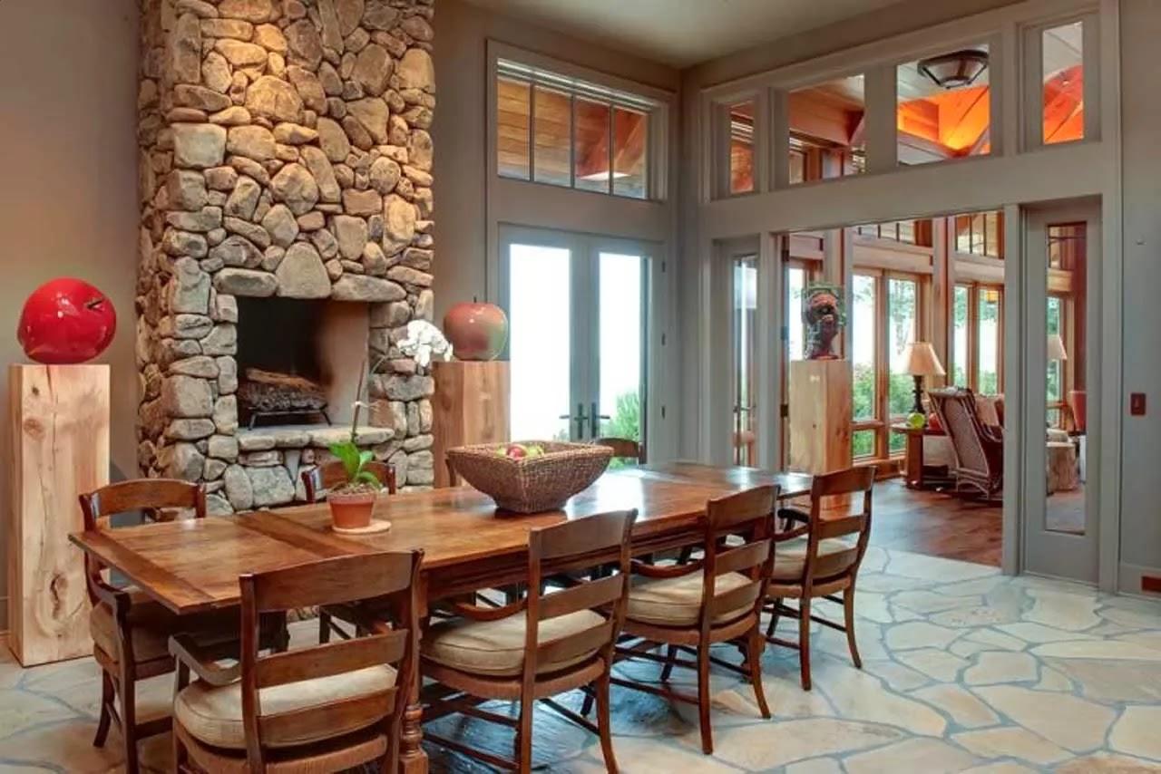 material natural seperti batu alami pada interior rumah