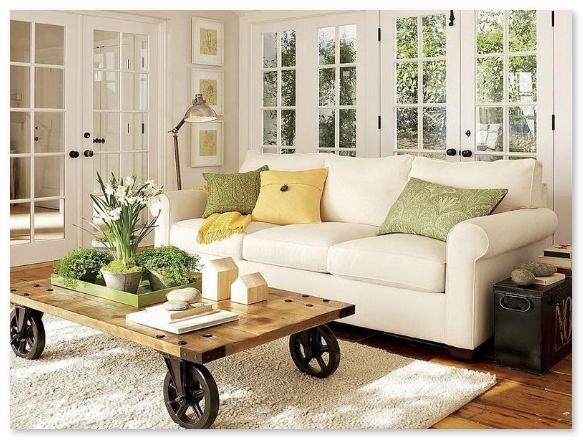 ruang tamu minimalis dengan benda furniture antik