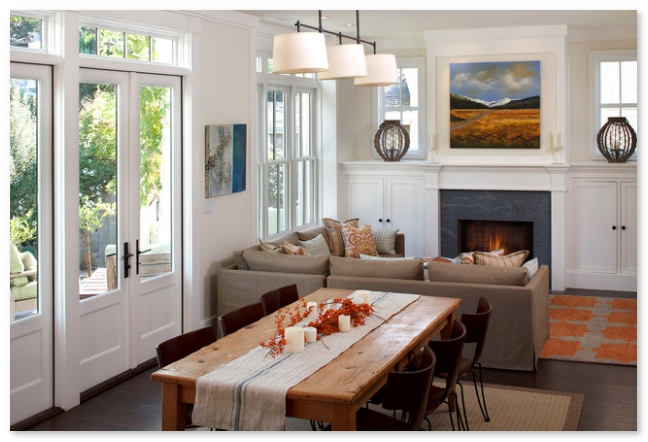 ruang tamu minimalis dengan ruang makan