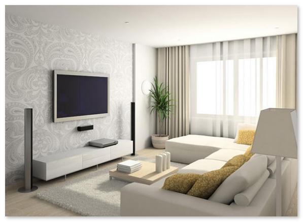 ruang tamu minimalis putih elegan