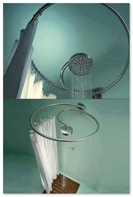 tempat mandi minimalis dengan shower unik