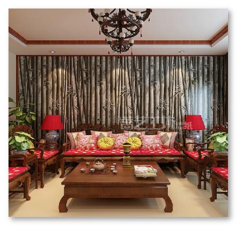 wallpaper gambar bambu pada ruang tamu