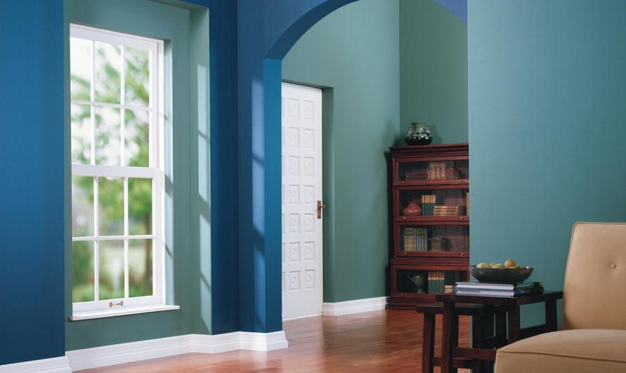 warna biru tua dan biru muda pada desain interior rumah minimalis