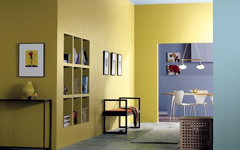 warna interior kuning lembut kombinasi warna ungu yang cantik
