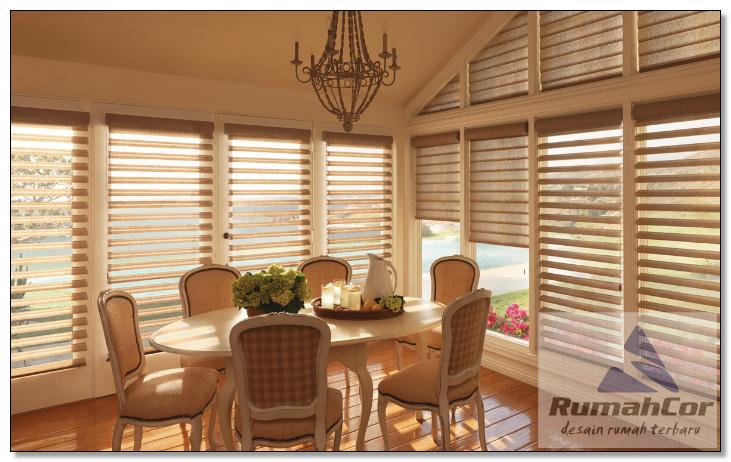 inspirasi window blind gorden ruang makan rumah minimalis