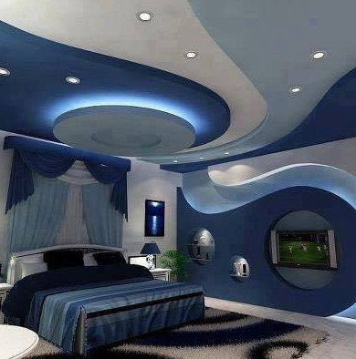 bentuk model unik plafon terbaru 2017 warna biru