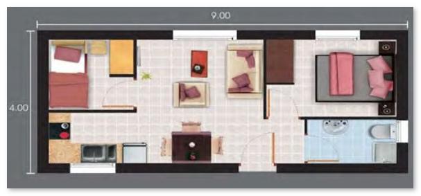 denah rumah memanjang 36 72 kecil minimalis