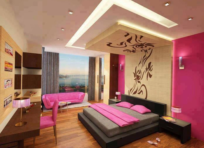 plafon terbaru pink untuk kamar tidur