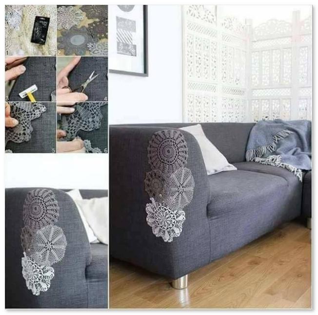 sofa menjadi cantik dari ukiran jahitan sendiri