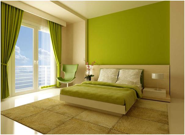 dekorasi kamar tidur istimewa warna hijau untuk rumah minimalis