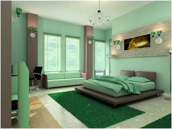 kamar tidur istimewa rumah minimalis warna hijau mint