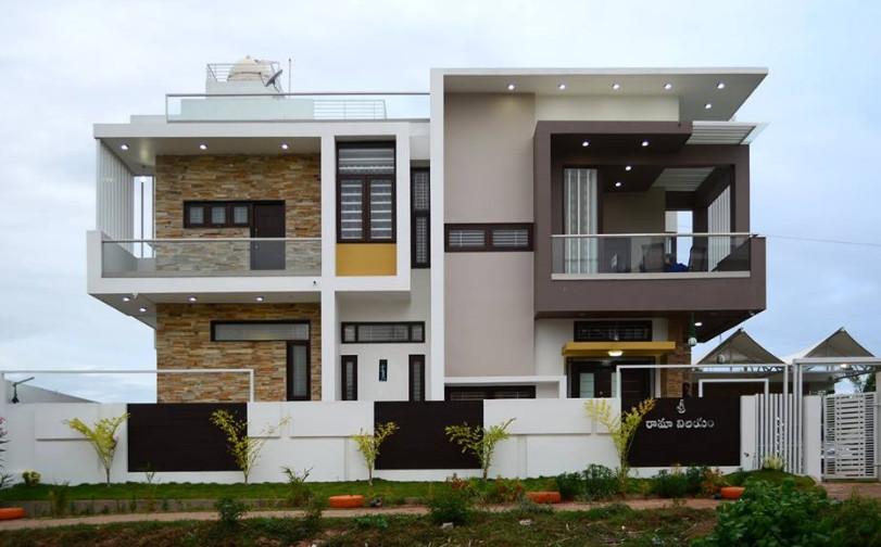 rumah besar mewah tingkat yang modern bertetangga