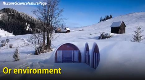 rumah hobbit yang bahkan tahan terhadap cuaca dingin seperti salju