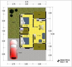 contoh denah dan ukuran rumah tipe 45