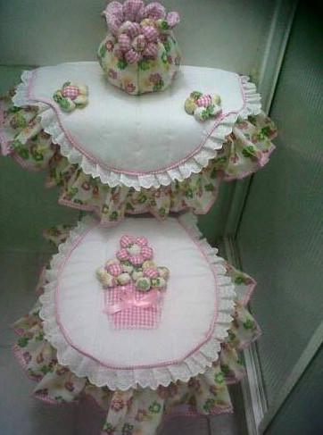cover toilet duduk motif bunga