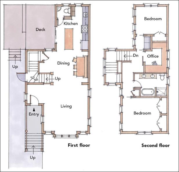 denah rumah 2 tingkat tipe 45
