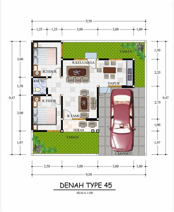 denah rumah tipe 45 untuk developer