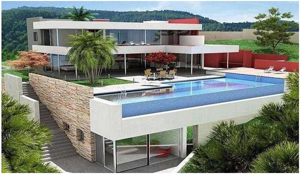 desain rumah mewah 2 lantai dengan kolam renang istimewa