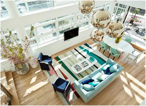 desain ruang tamu mewah elegan nampak atas