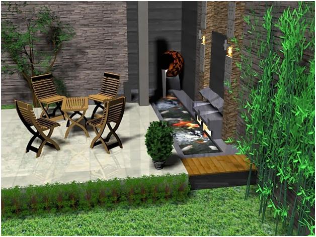 gambar 3d taman teras minimalis