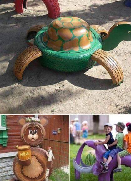 kreasi ban taman bermain di halaman rumah dari ban bekas