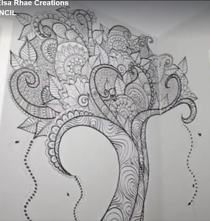 kreasi dinding dengan lukisan spidol sendiri