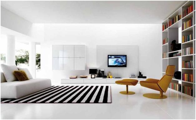 menghias rumah minimalis dengan karpet motif garis2