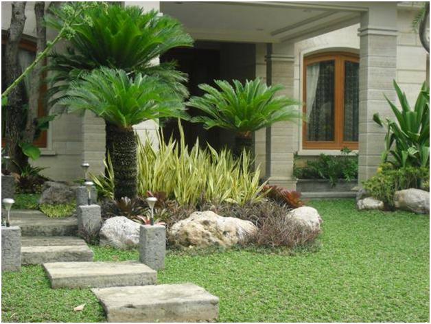 teras minimalis dengan taman cantik