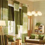 cantiknya desain gorden hijau perpaduan dengan coklat